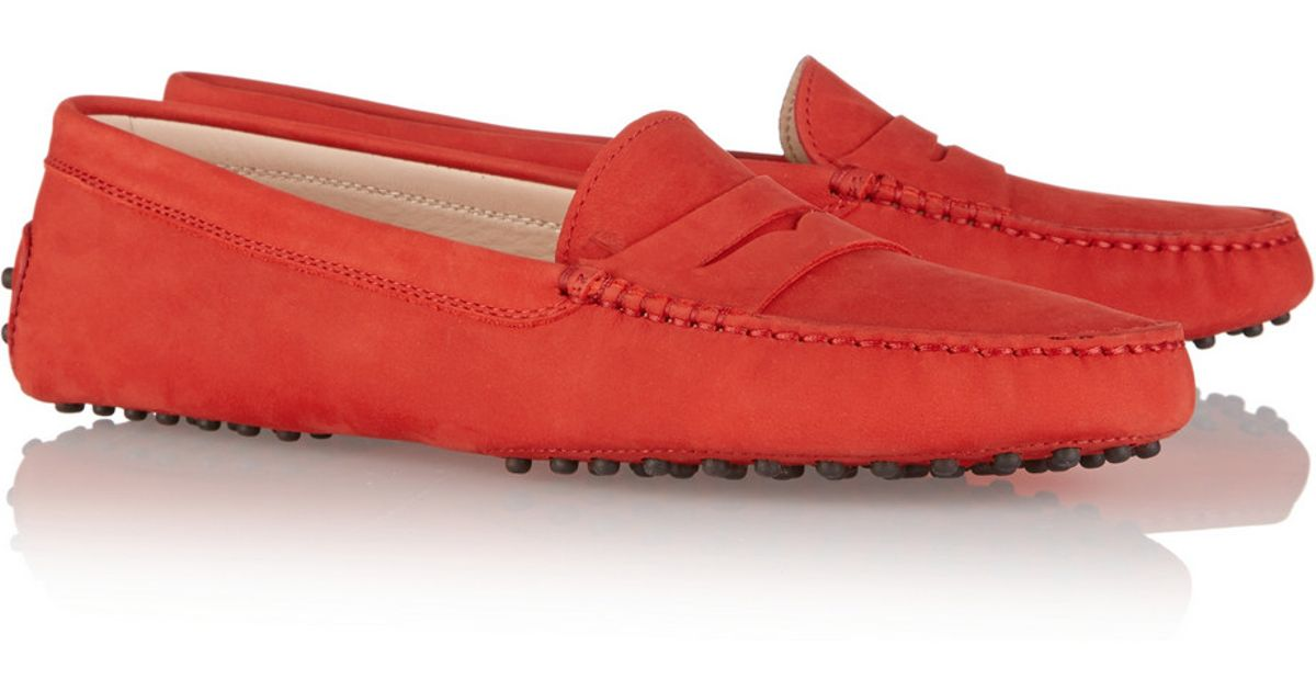 82a696ef4cd Lyst - Tod s Gommino Suede Loafers in Red