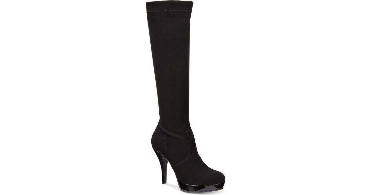 Kenneth Cole Group File Knee High Boot Black Faux Suede  New with Box