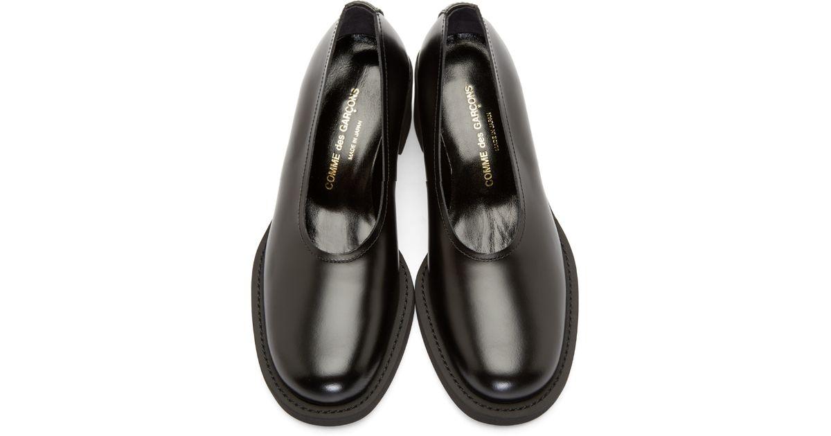 621efa9c48d7 Lyst - Comme des Garçons Black Leather Slip on Heels in Black