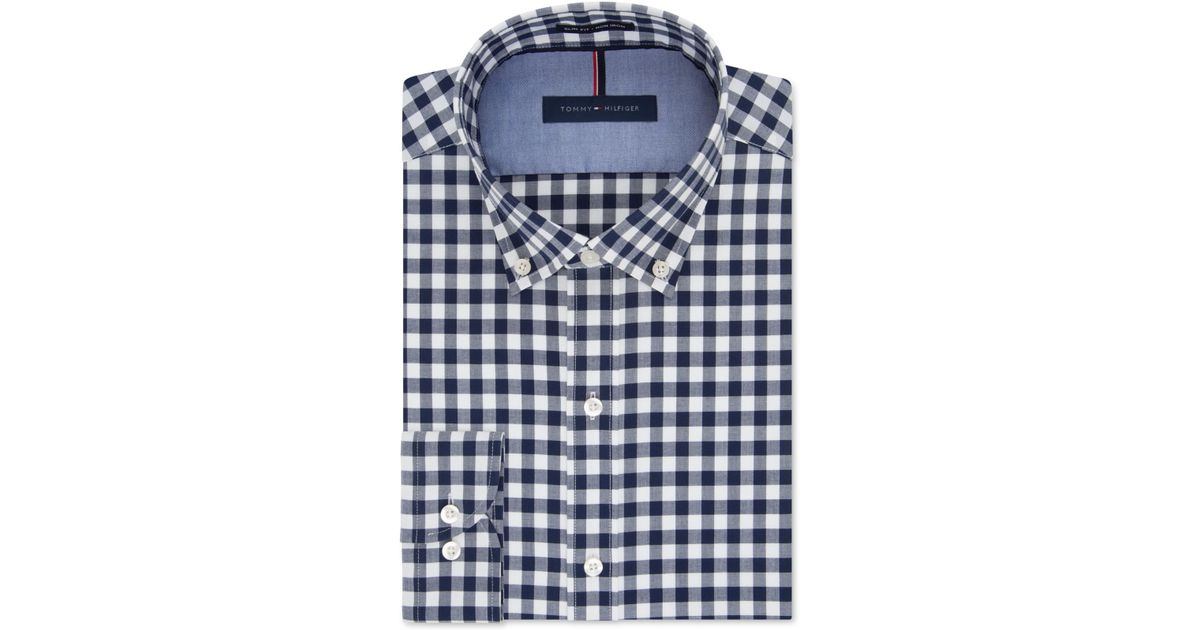 Tommy Hilfiger Slim Fit Non Iron Soft Wash Navy Gingham