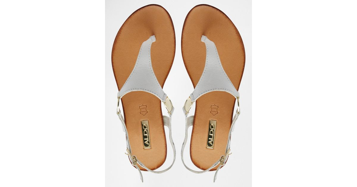 d20628b7a40 Lyst - ALDO Bellia White Leather Thong Flat Sandals in White