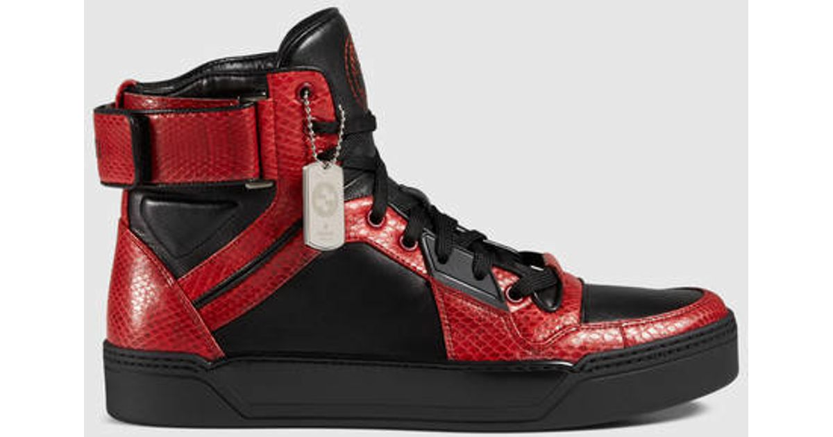 Gucci Snakeskin High-top Sneaker in Red