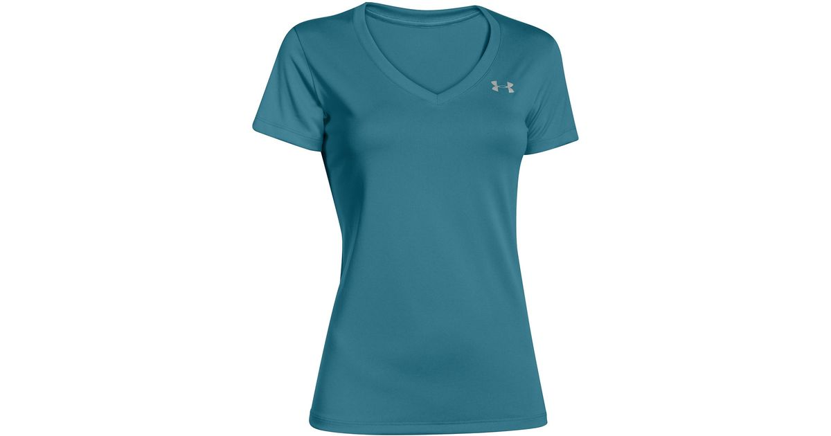 Under armour v neck tee in teal lyst for Teal under armour shirt
