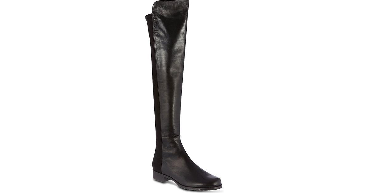 stuart weitzman 50 50 knee high suede boots in black lyst