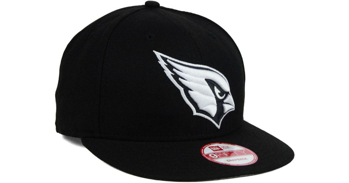 3476d79f KTZ Arizona Cardinals Black White 9Fifty Snapback Cap for men