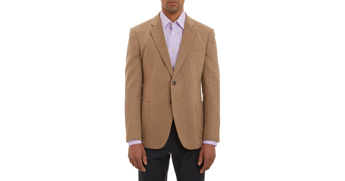 Armani Camel Hair Twobutton Sportcoat In Beige Tan Brown