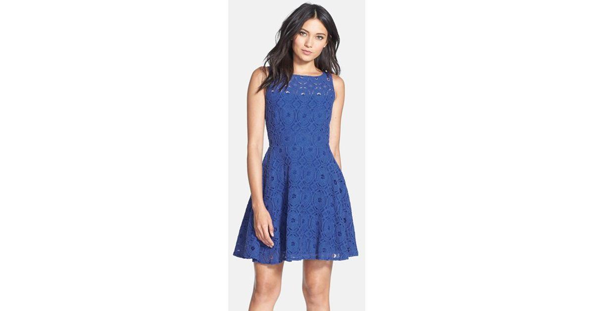 Bb Dakota Renley Lace Fit Amp Flare Dress In Blue Lyst