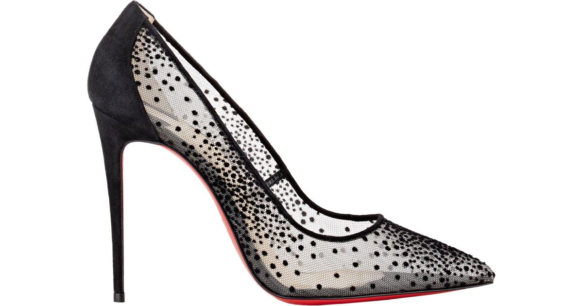 99d03f6bf0e ... germany christian louboutin follies lace and chiffon pumps in black lyst  67129 f9642