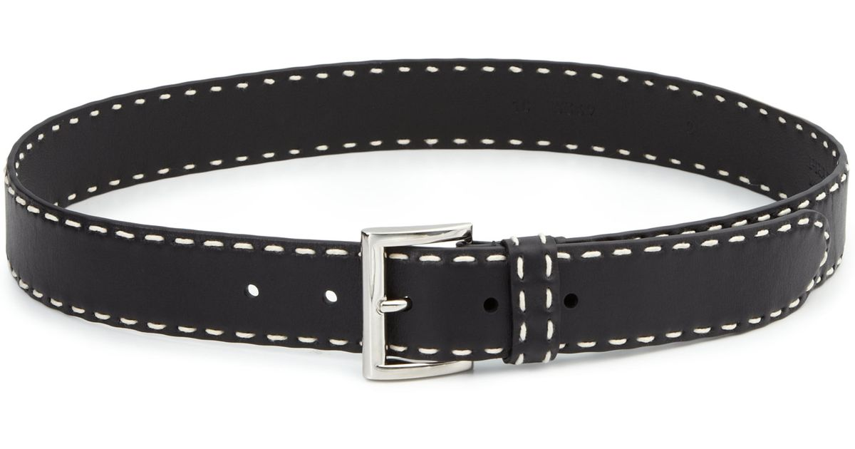 how to tell a real prada purse - Prada Contrast-stitched Leather Belt in Black | Lyst