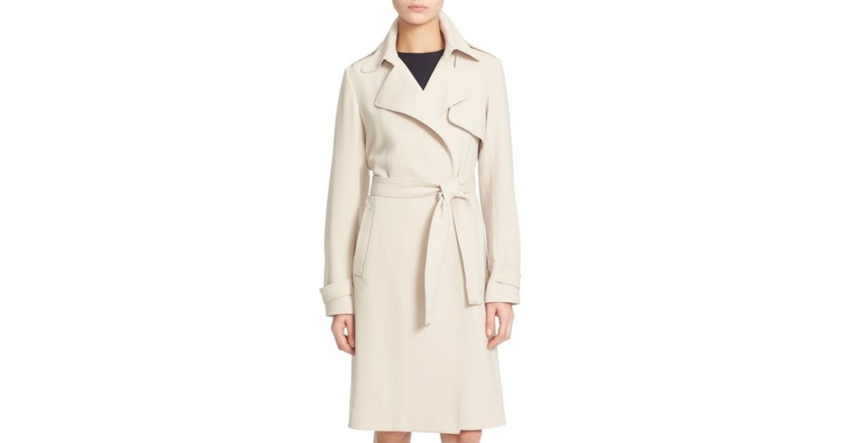 8dd3a41f90 Theory 'oaklane' Belted Trench Coat in Natural - Lyst
