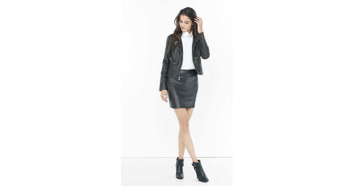 f26a0998b Express (minus The) Leather High Waisted Mini Skirt in Black - Lyst
