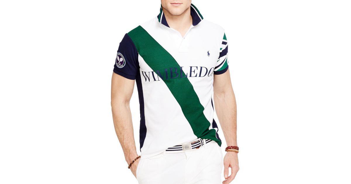 61bac34a68 Polo Ralph Lauren White Wimbledon Banner Stripe Polo Shirt - Slim Fit for  men