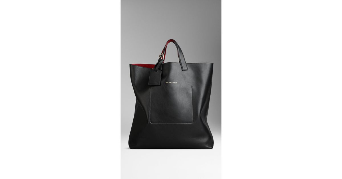 e9bddcc792 Burberry Large Bonded Leather Portrait Tote Bag in Black - Lyst