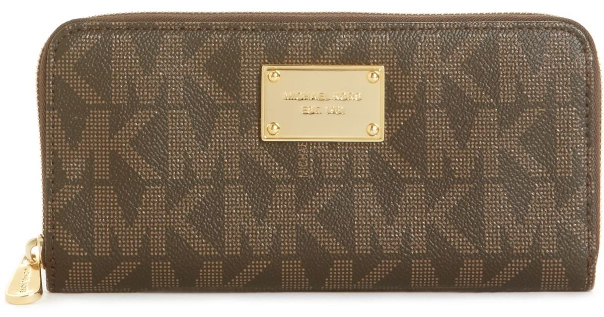 4284ac5888ba cheap lyst michael kors michael mk logo zip around continental wallet in  brown f4287 e7810