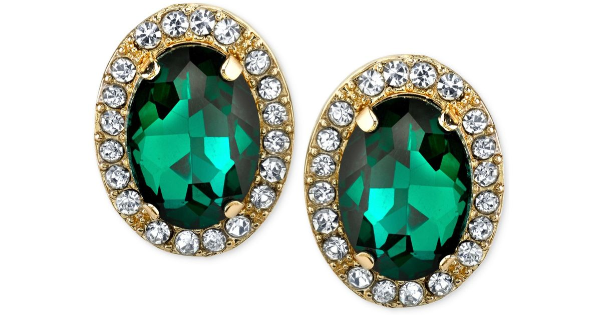 2028 Gold Tone Green Stone And Crystal Stud Earrings