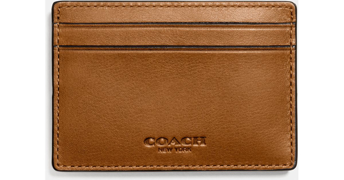 huge discount 1f496 d3a92 COACH Brown Money Clip Card Case in Sport Calf Leather for men