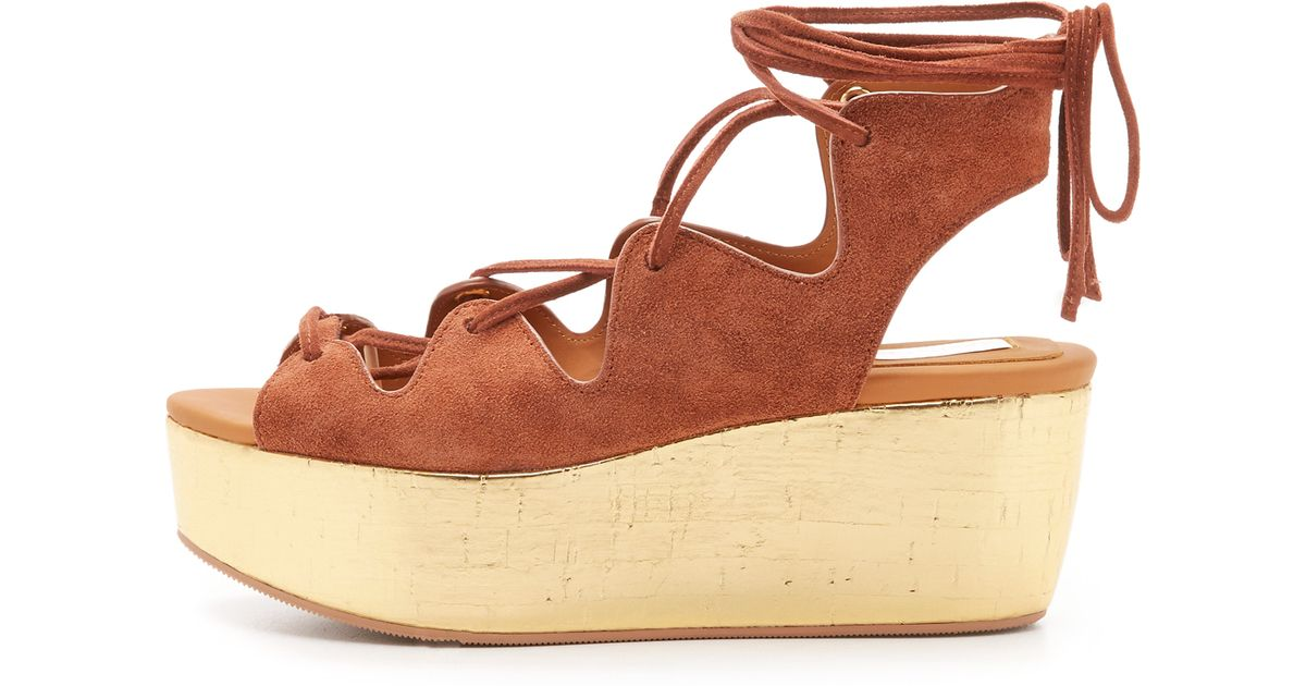 Brown Chloé Up Platform Sandals See By Liana Lyst Lace IEDH2eWY9
