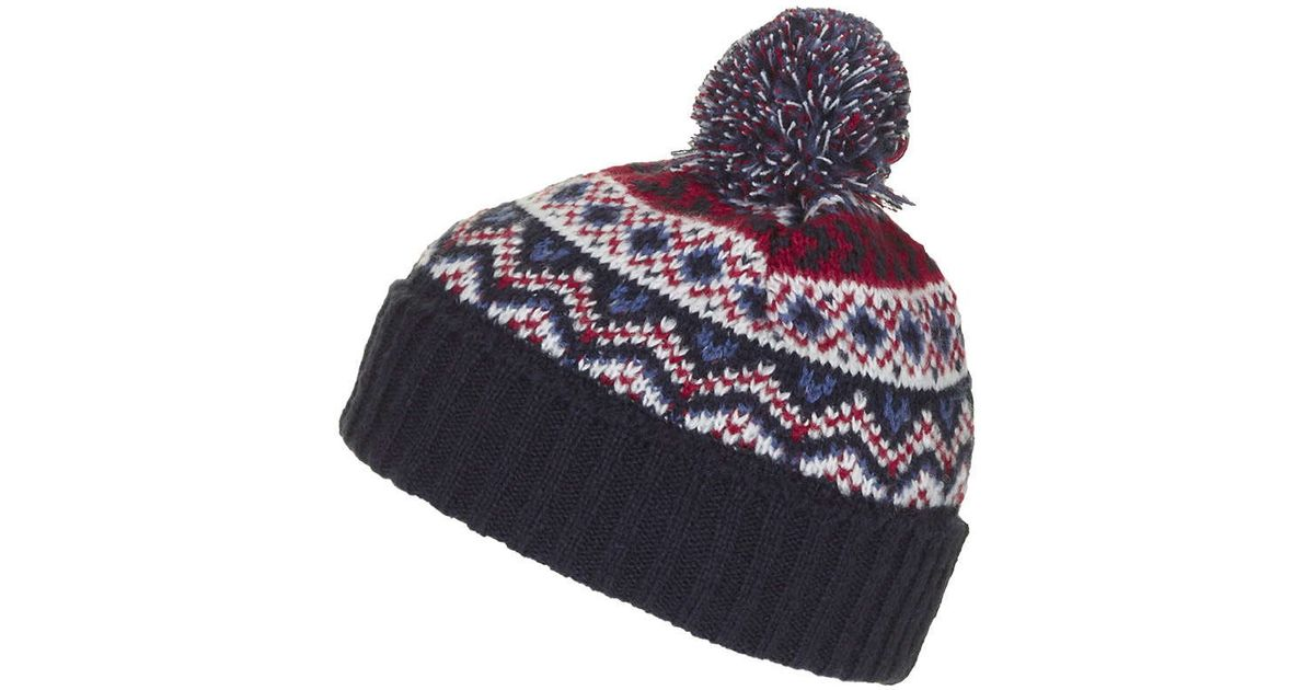 Lyst - TOPSHOP Fairisle Beanie Hat in Blue 6dbe2655494