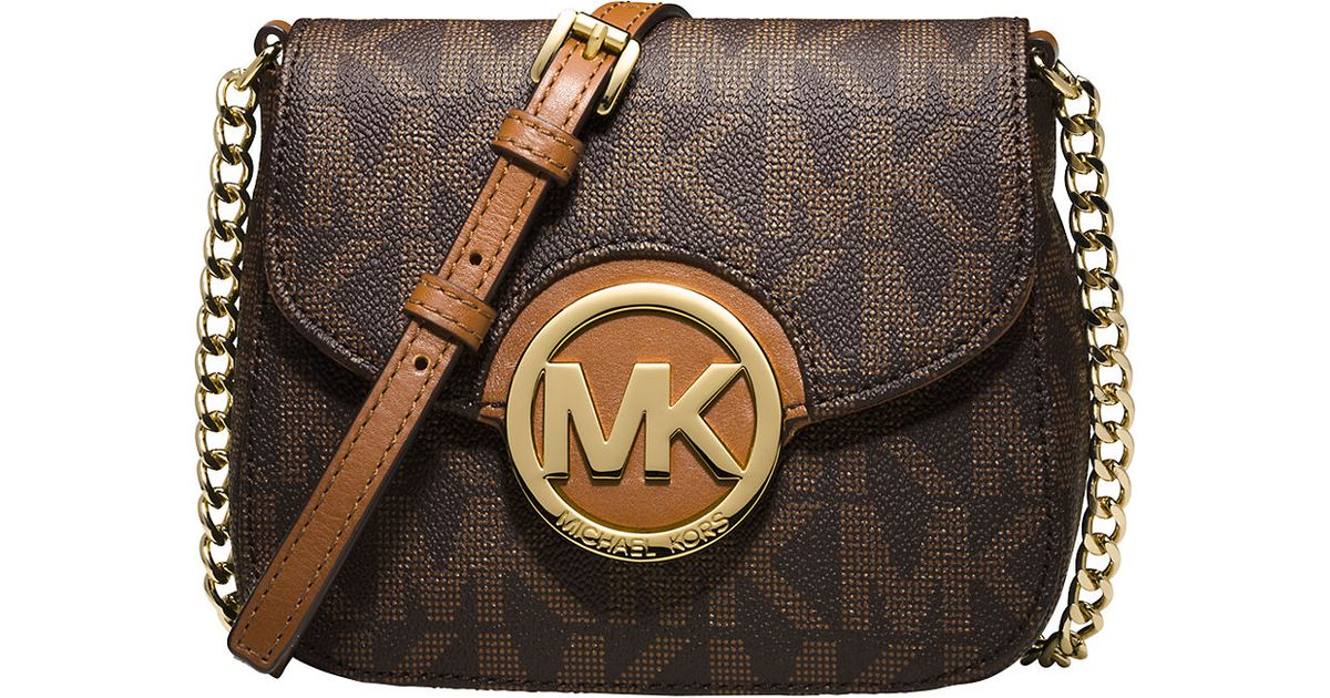 michael michael kors fulton logo small crossbody in brown. Black Bedroom Furniture Sets. Home Design Ideas