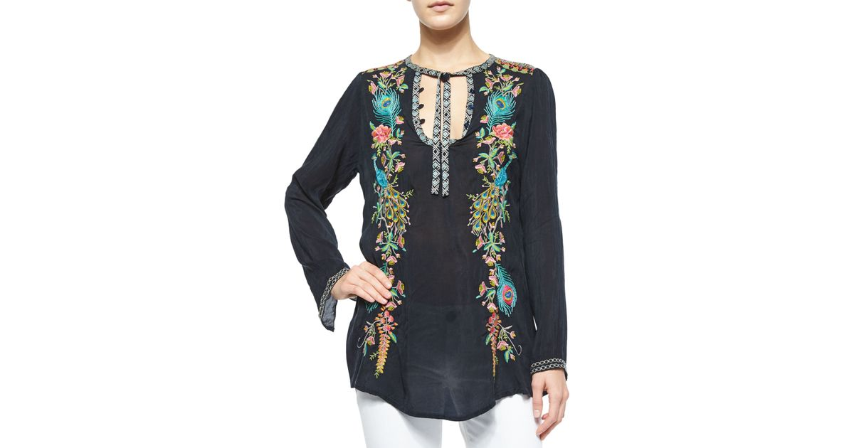 5f4a804966a5 Lyst - Johnny Was Long-Sleeve Peacock Embroidered Tunic