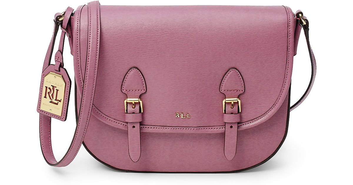 9f89898ae20d ... italy lyst ralph lauren tate leather messenger bag in pink 82859 905f5
