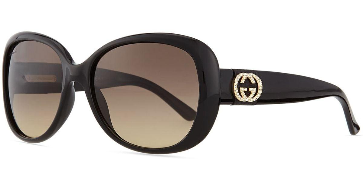 2be74b5e6ad4e Lyst - Gucci Crystal Gg Logo Sunglasses in Black