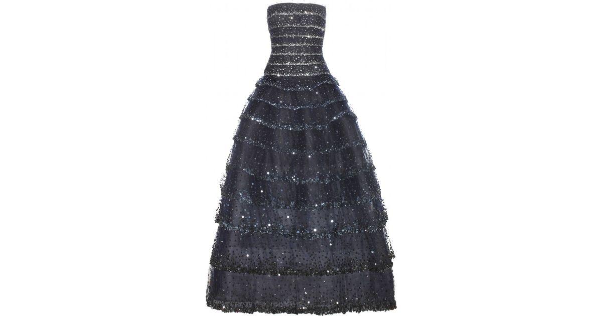 Lyst - Oscar De La Renta Embellished Tulle Gown in Blue
