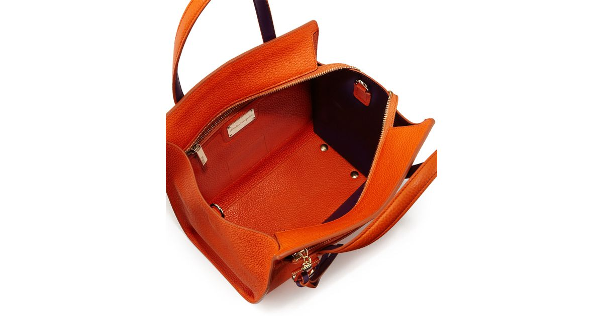 2df8fa224f Lyst - Ferragamo Amy Small Gancio Leather Tote Bag in Orange
