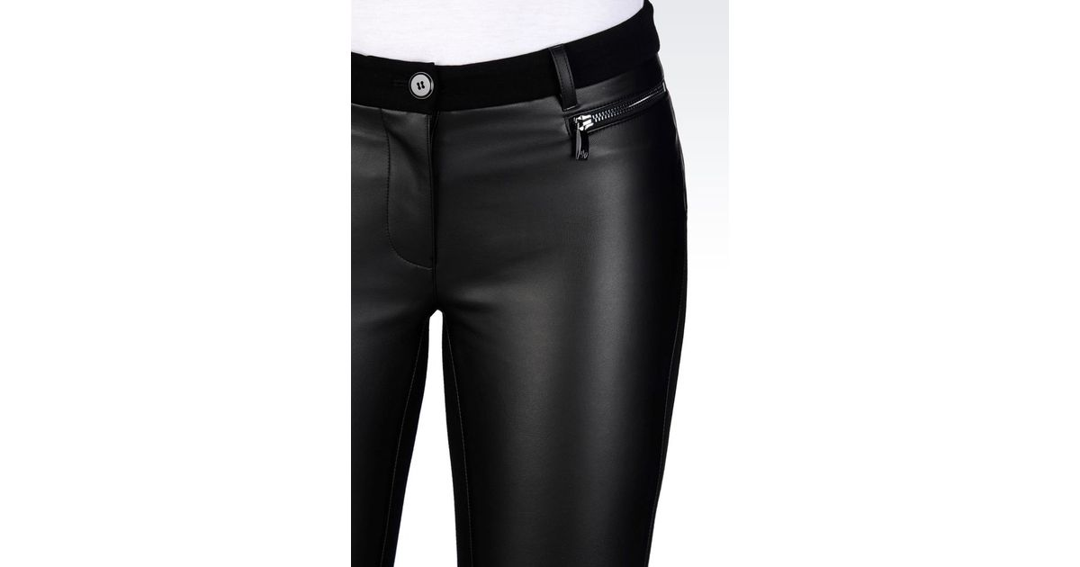 armani jeans leggings in faux leather in black lyst. Black Bedroom Furniture Sets. Home Design Ideas