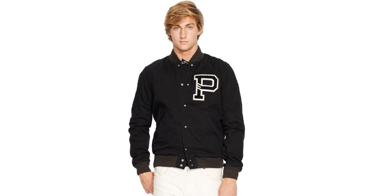 Jacket Men Lauren Reversible Black Ralph Varsity For Polo LjcR54qSA3