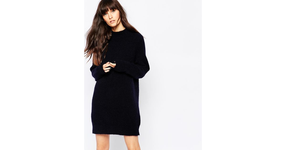 Selected Kitty Knitted Turtleneck Jumper Dress In Blue Lyst