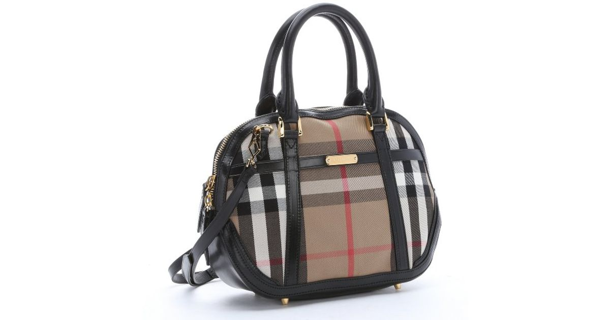 3bf3046c77d3 Lyst - Burberry Black Leather And Khaki House Check Canvas Small  Orchard   Convertible Satchel in Black