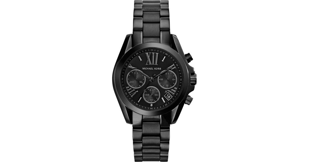 Michael Kors Women S Chronograph Mini Bradshaw Black Ion Plated Stainless Steel Bracelet Watch 36mm Mk6058