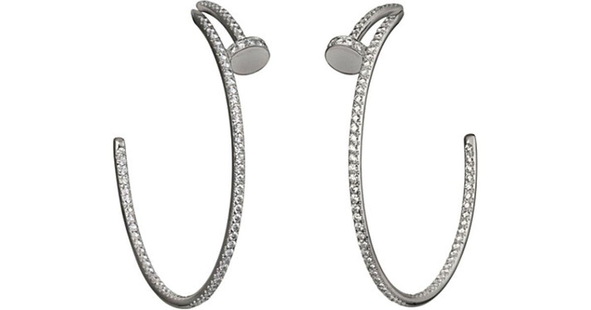 Cartier Juste Un Clou 18 Carat White Gold And Diamond Earrings