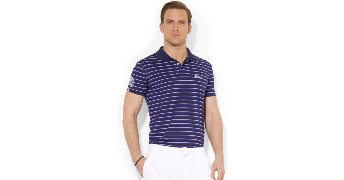 74176cb6aac33 Lyst - Polo Ralph Lauren Polo Wimbledon Rlx Multistriped Piqué Polo in Blue  for Men