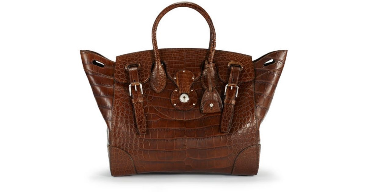 b498a9667b49 Lyst - Ralph Lauren Matte Alligator Soft Ricky Bag in Brown