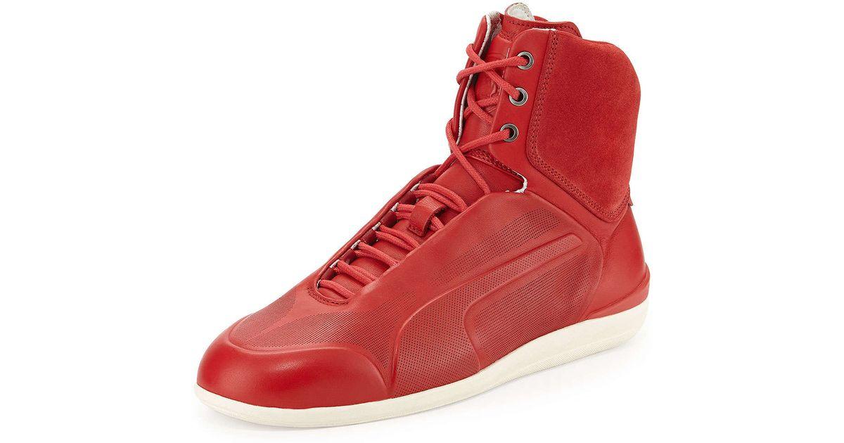 Lyst - PUMA Ferrari Suede High-Top Sneaker in Red for Men d479c3e55891