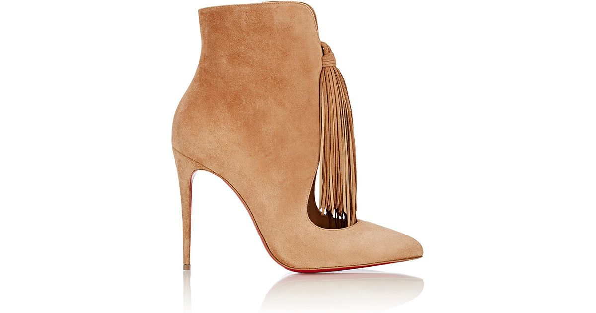 christian louboutin fakes - Christian louboutin Ottocarl Fringed Suede Ankle Boots in Beige ...