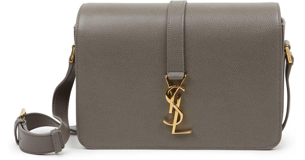 Lyst - Saint Laurent Monogram Universite Medium Textured Leather Crossbody Bag  in Gray da337f5f04