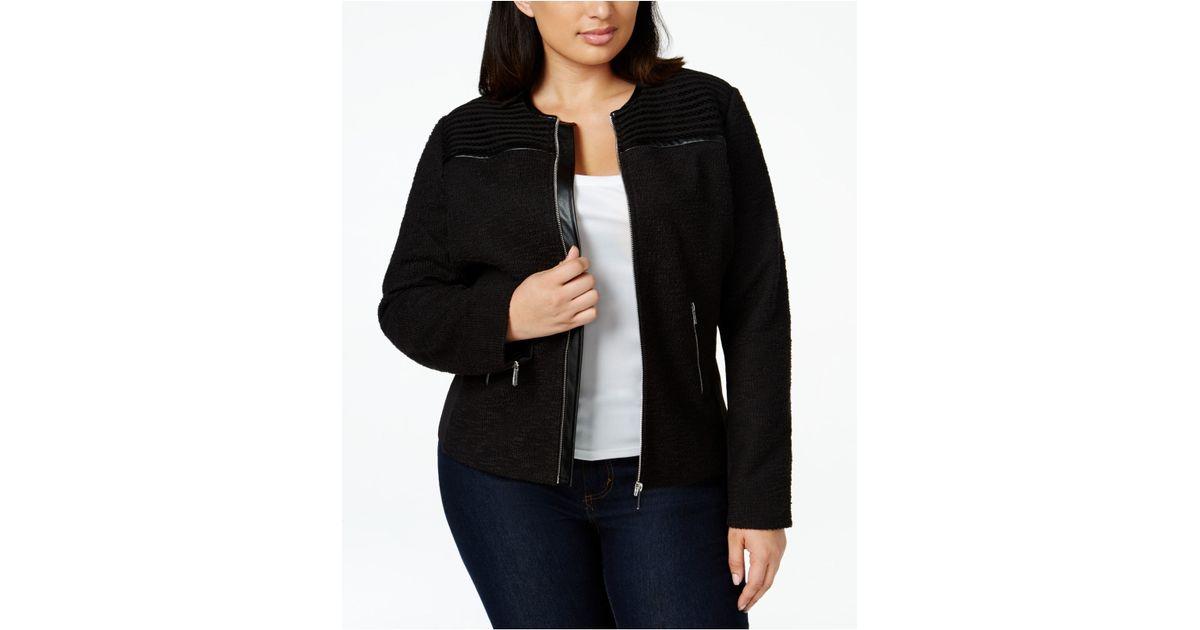 5358760c7cf Lyst - Calvin Klein Plus Size Faux-leather-trim Knit Moto Jacket in Black