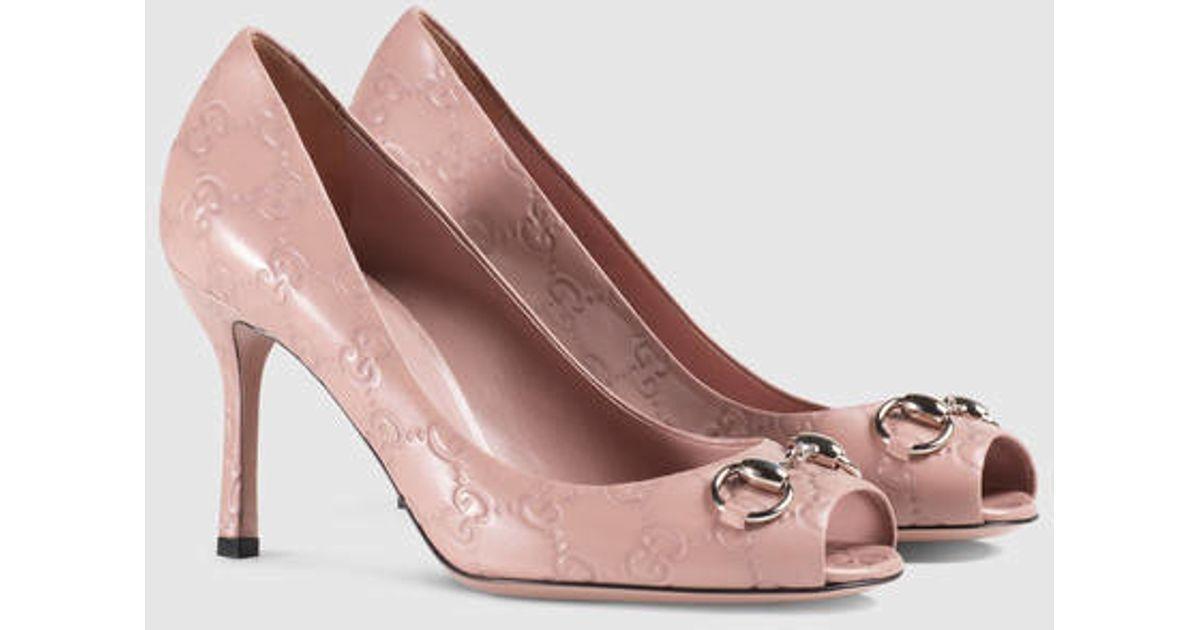 Lyst - Gucci Jolene Ssima Mid-heel Pump in Pink