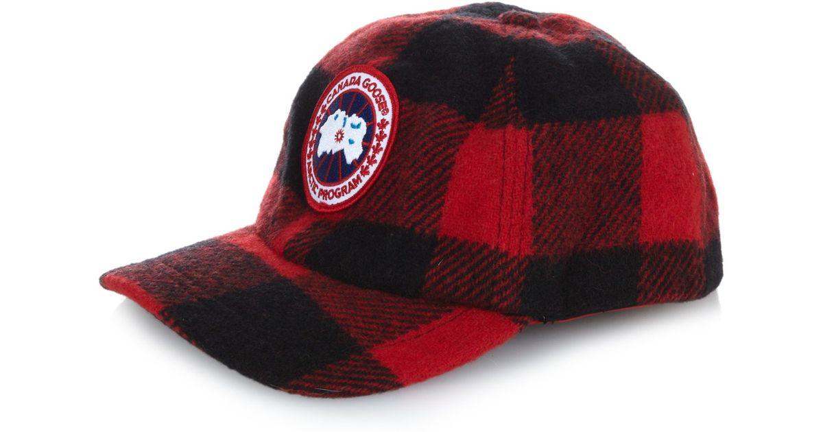 Lyst - Canada Goose Plaid Wool-blend Hat in Black ed835675d81