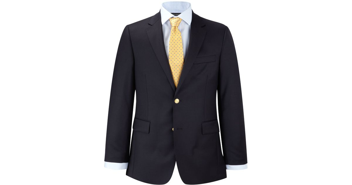 Austin Reed Wool Formal Button Blazer In Navy Blue For Men Lyst