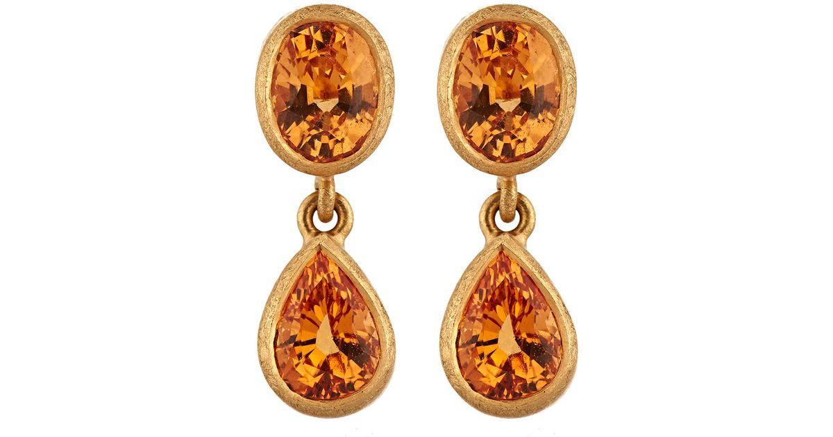 Malcolm Betts Womens Orange Garnet Double-Drop Earrings 7koxg9j