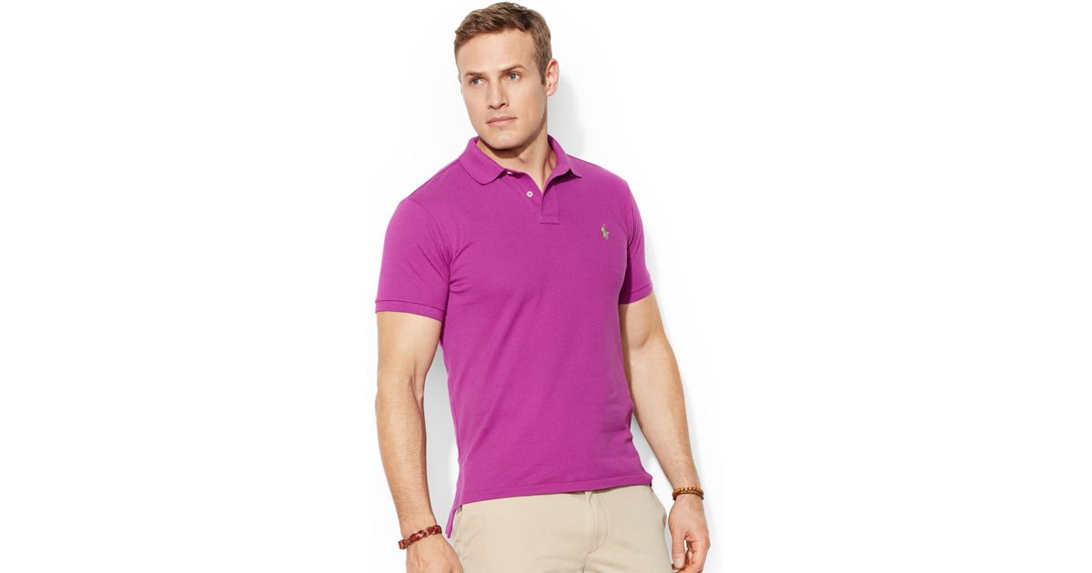 f1f9bd8529879 Polo ralph lauren Classic-Fit Short-Sleeve Cotton Mesh Polo in Purple for  Men