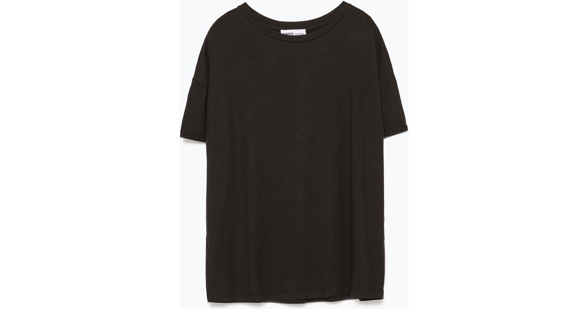 Zara paisley print t shirt in black lyst for Zara black t shirt dress