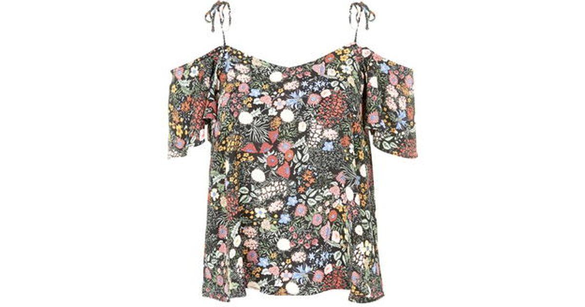 67df1b0fce387b TOPSHOP Floral Print Tie-Strap Bardot Top in Black - Lyst