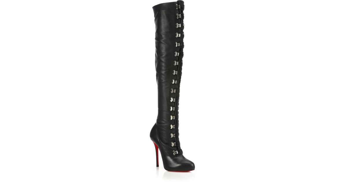 christian louboutin over the knee leather boots
