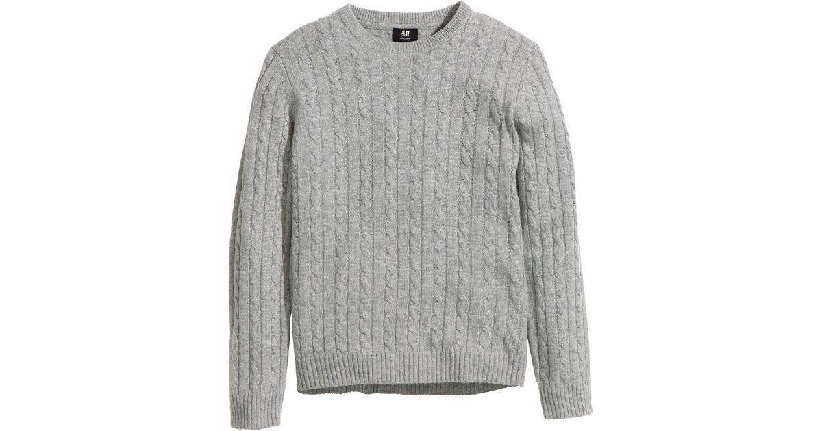 69f45e6648e H&M Gray Wool-blend Cable-knit Jumper for men