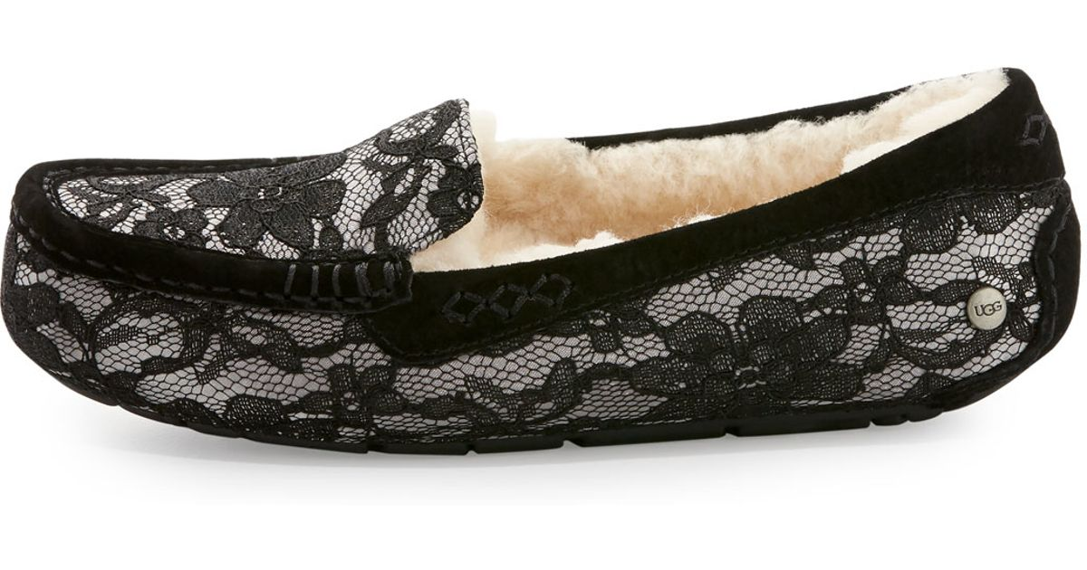 7157abc5759 UGG Black Ansley Antoinette Lace Slippers